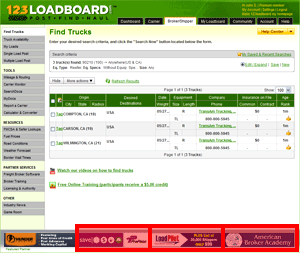 123Loadboard Search Pages