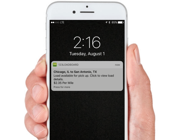 Send load alerts to a driver's mobile device